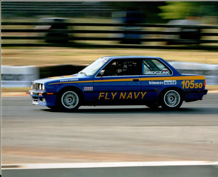 action photo of PJs Blue BMW race car